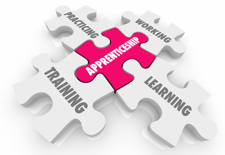 Apprenticeship On the Job Training Learning Puzzle Pieces Words 3d Illustration