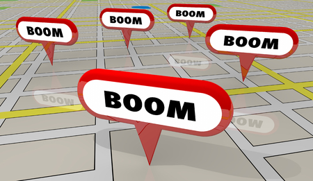 Boom Increase Growth Map Pins 3d Illustration