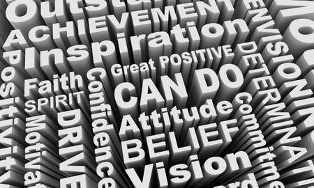 Can Do Attitude Positive Spirit Words Collage 3d Illustration 版權商用圖片