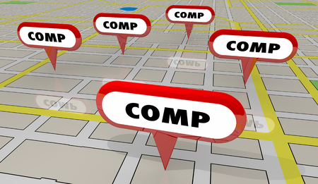 Comps Sold Houses Comparable Properties Map Pins 3d Illustration Stock Photo