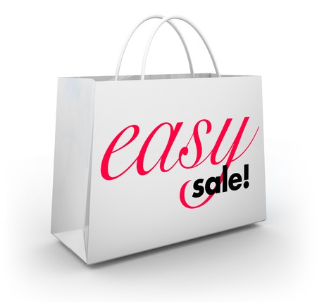 Easy Sale Great Buy Value Shopping Bag 3d Illustration Stock Photo
