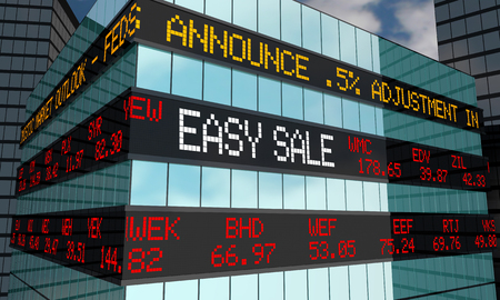 Easy Sale IPO Stock Market Ticker Wall Street Building 3d Illustration