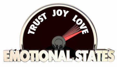 Emotional States Trust Joy Love Speedometer Words 3d Illustration Stock Photo