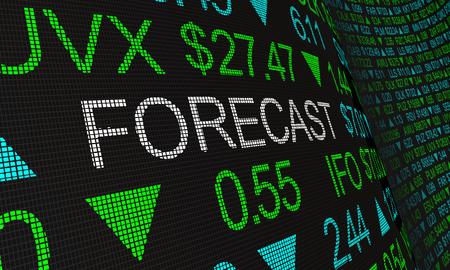 Forecast Prediction Outlook Stock Market Ticker Words 3d Illustration