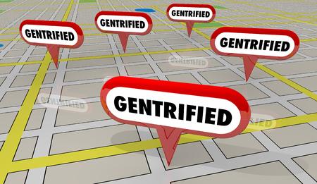 Gentrified Neighborhoods Gentrification Map Pins 3d Illustration