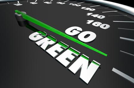 Go Green Renewable Energy Speedometer Words 3d Illustration Stok Fotoğraf