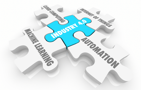Industry 4.0 Automation Cloud Puzzle Pieces Words 3d Illustration