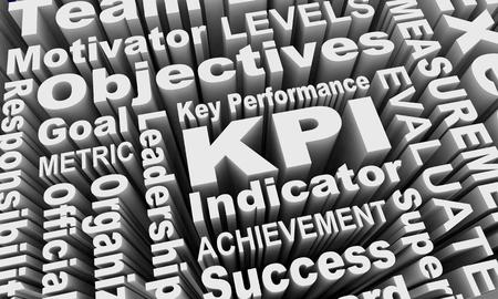 KPI Key Performance Indicators Words Collage 3d Illustration Stock Photo