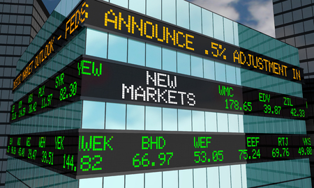 New Markets Stock Words Ticker Wall Street Building 3d Illustration