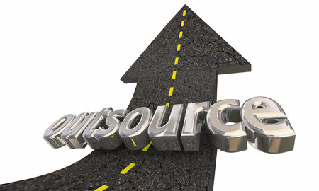 Outsource Freelance Job Outside Worker Road Arrow Up Success 3d Illustration