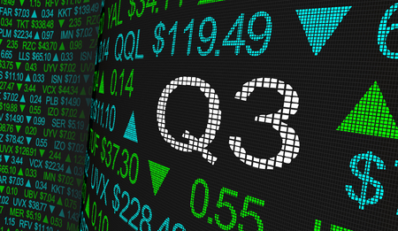 Q3 3rd Quarter Period Stock Market Ticker Words 3d Illustration