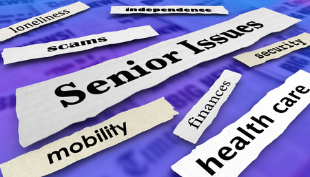 Senior Issues Health Care Finances Newspaper Headlines 3d Illustration