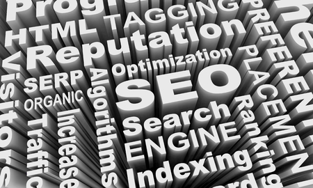 SEO Search Engine Optimization Words Collage 3d Illustration