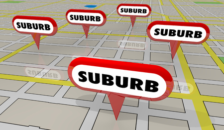 Suburbs Areas Subarban Cities Map Pins 3d Illustration