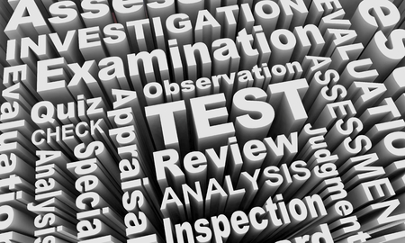 Test Exam Assessment Words Collage 3d Illustration