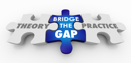 Theory Vs Practice Bridge the Gap Puzzle Pieces 3d Illustration 版權商用圖片