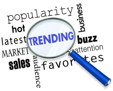 Trending Market Analysis Magnifying Glass Words 3d Illustration