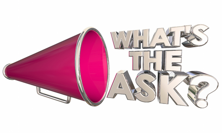 Whats the Ask Request Need Bullhorn Megaphone Words Question 3d Illustration