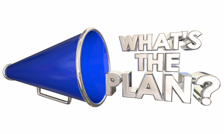 Whats the Plan Bullhorn Megaphone Words Question 3d Illustration