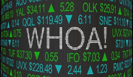Whoa Big Surprise Shock Stock Market Ticker Words 3d Illustration