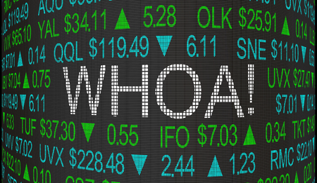 Whoa Big Surprise Shock Stock Market Ticker Words 3d Illustration