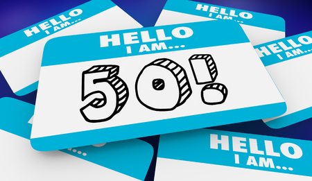 50 Fifty Years Old Hello I Am Name Tag 3d Illustration