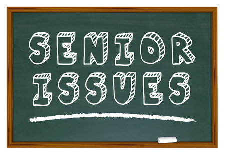 Senior Issues Elderly Aging Concerns Chalkboard Words 3d Illustration