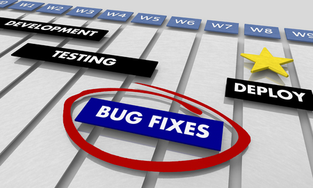 Bug Fixes Development Stage Timeline Gantt Chart 3d Illustration