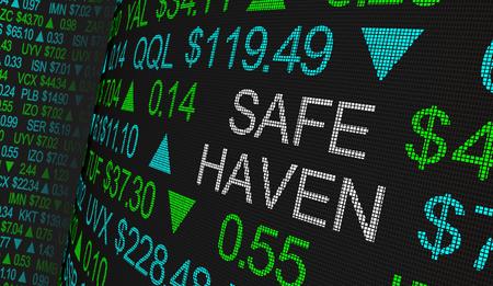 Safe Haven Tax Protection Shares Fund Mercado de valores Ticker Words Ilustración 3d