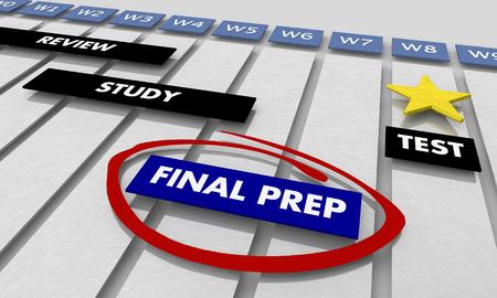 Final Preparation Study for Test Timeline Gantt Chart 3d Illustration