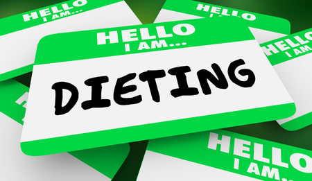 Dieting Losing Weight Hello I Am Name Tag 3d Illustration Stock fotó