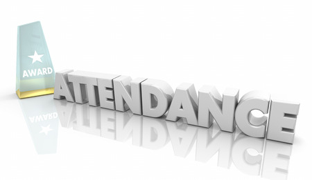 Attendance Award Perfect Record Words 3d Illustration Banco de Imagens