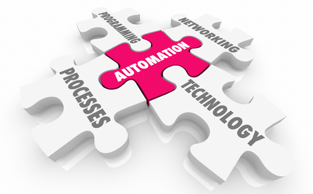 Automation Process Machine Learning Puzzle Pieces Words 3d Illustration