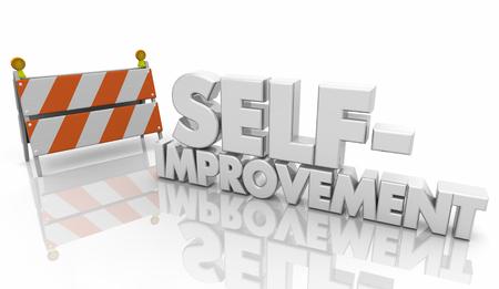 Self-Improvement Barricade Help Words 3d Illustration 写真素材