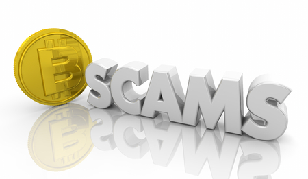 Bitcoin Crypto Currency Scams Fraud Stolen Word 3d Illustration