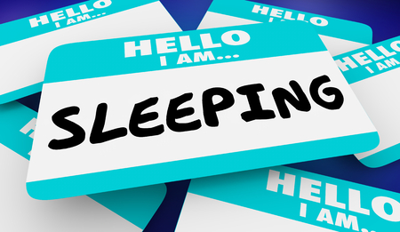 Sleeping Asleep Hello I Am Name Tag 3d Illustration Banco de Imagens