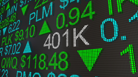 401K Retirement Account Stock Market Ticker Words 3d Illustration Stockfoto