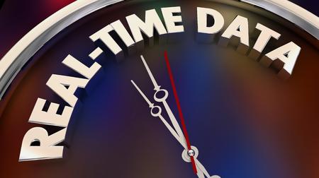 Echtzeitdaten Sofortige aktuelle Informationen jetzt Uhr 3D-Illustration