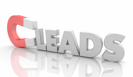 Leads Magnet New Sales Prospects Word 3d Illustration