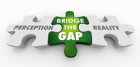Percepción Vs Realidad Bridge the Gap Puzzle Piezas Ilustración 3d
