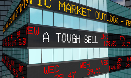 A Tough Sell Stock Market Low Price Ticker Wall Street Building 3d Illustration Stock Photo