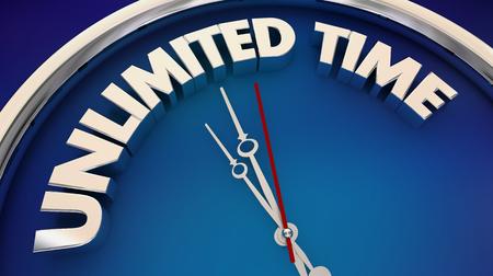 Unlimited Time No Limits Restraints Endless Clock 3d Illustration