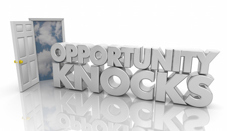 Opportunity Knocks Door Words 3d Illustration