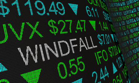 Windfall Big Profits Earnings Stock Market Ticker Words 3d Illustration