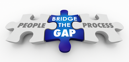 People Vs Process Bridge the Gap Puzzle Pieces 3d Illustration 스톡 콘텐츠