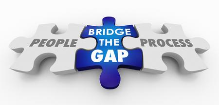 People Vs Process Bridge the Gap Puzzle Pieces 3d Illustration Stock Photo