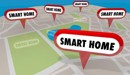Smart Home Automation Houses Map Pins 3d Illustration Фото со стока