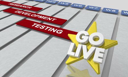 Go Live Date Launch Plan Timeline Gantt Chart 3d Illustration Standard-Bild - 117445953