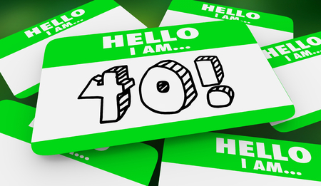 40 Forty Years Old Hello I Am Name Tag 3d Illustration 版權商用圖片