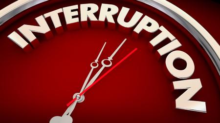 Interruption Break in Action Take Pause Clock 3d Illustration